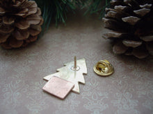 Load image into Gallery viewer, Christmas Tree Pin Brooch, Gold Tree Brooch, Lapel Pin.