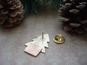 Christmas Tree Pin Brooch, Gold Tree Brooch, Lapel Pin.