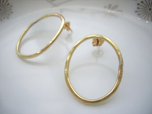 Modern loop earrings, Minimalist jewelry, Gold studs, Oval link