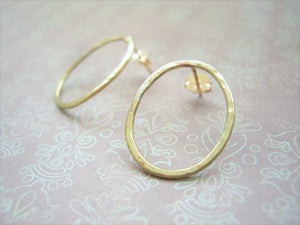 Modern loop earrings, Minimalist jewelry, Gold studs, Oval link.
