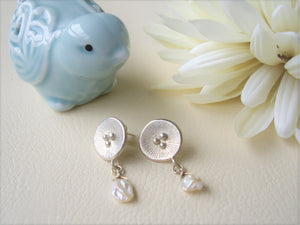 Round Silver Dangle Earrings With Keshi Pearl, Poppy Artisan Jewelry
