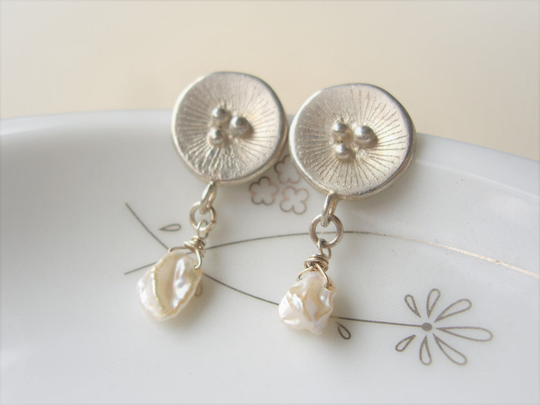 Round Silver Dangle Earrings With Keshi Pearl, Poppy Artisan Jewelry.