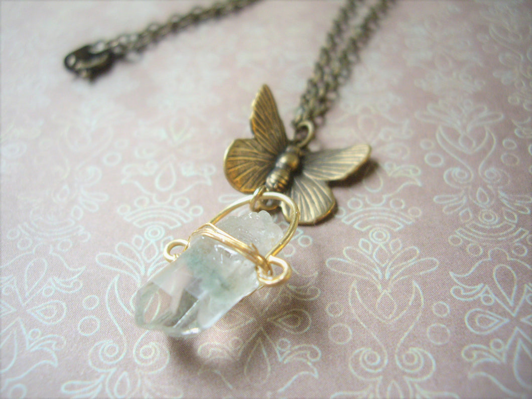 Crystal Point Necklace, Moss Quartz, Butterfly and Raw Stone Pendant