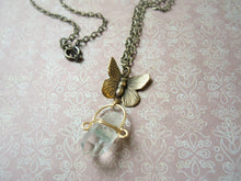 Load image into Gallery viewer, Moss Quartz and Butterfly Antique Bronze Pendant.