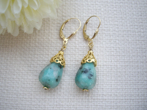 Turquoise Blue Drop Stone Exotic Gold Cone Earrings