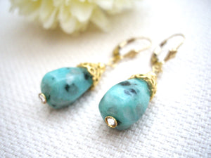 Turquoise Blue Drop Stone Exotic Gold Cone Earrings.