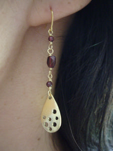 Garnet and Gold  Teardrop Long Earrings.
