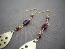 Load image into Gallery viewer, Garnet and Gold drop long earrings, Modern chic jewelry