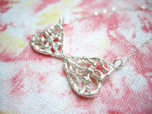 Load image into Gallery viewer, Lacy double heart bow necklace, Sterling silver pendant
