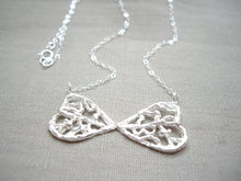 Load image into Gallery viewer, Filigree Bow Tie Necklace, Sterling silver pendant.