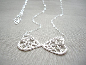 Lacy double heart bow necklace, Sterling silver pendant