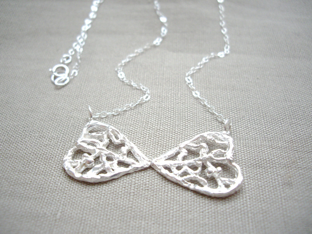Filigree Bow Tie Necklace, Sterling silver pendant.