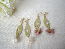 Load image into Gallery viewer, Gold Marquise Dangle Earrings with Rose Quartz, Heart Jewelry Gift.