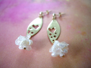 Gold Marquise Dangle Earrings with Rose Quartz, Heart Jewelry Gift.