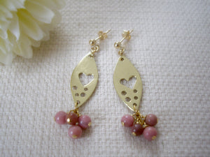 Gold Marquise Plate With Pink Gem Earrings, Heart and Rhodochrosite Earrings.
