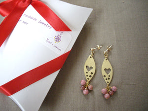 Gold Marquise Plate With Heart and Rhodochrosite Earrings, Pink Gem Earrings