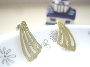 Gold Butterfly Wing Statement Earrings, Post Earrings.