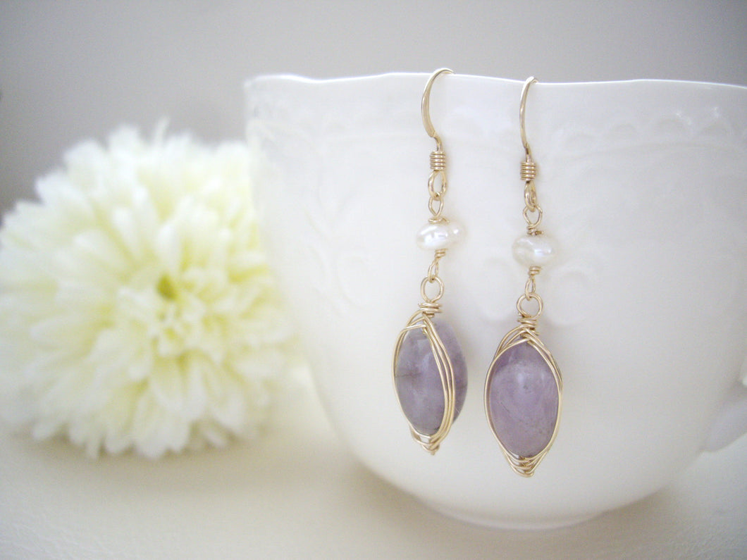 Wire Wrapped Purple Gem Dangle Earrings