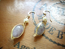 Load image into Gallery viewer, Wire Wrapped Purple Gem Dangle Earrings