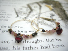Load image into Gallery viewer, Garnet Jewelry Set, Garnet Hoop Earrings, Garnet Bar Necklace.
