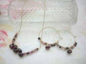 Garnet Jewelry Set, Garnet Hoop Earrings, Garnet Bar Necklace.