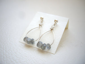 Labradorite Tiny Hoop Earrings, Minimal Jewelry For Her.