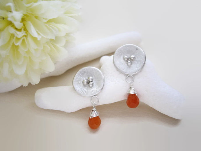 Silver Circle Earrings, Poppy Motif Jewelry With Orange Aventurine