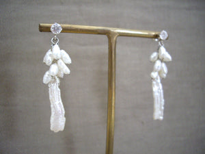 Biwa Pearl and Rice Pearls Cluster Wedding Earrings