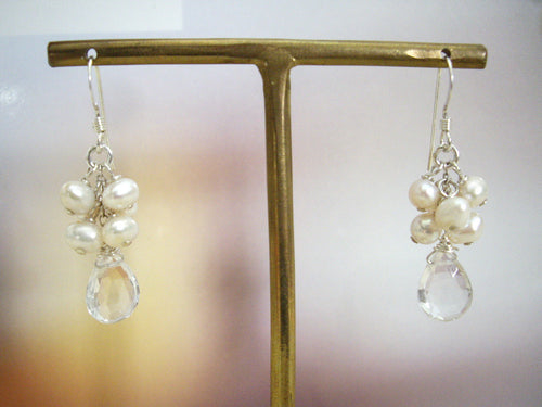 Pearl Cluster and Quartz Drop Bridal Earrings.