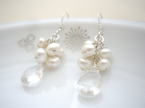 Pearl Cluster and Clear Quartz Bridal Earrings