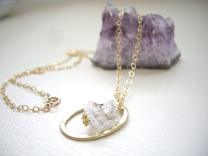 Herkimer Diamond Long Necklace, Raw Crystal Pendant