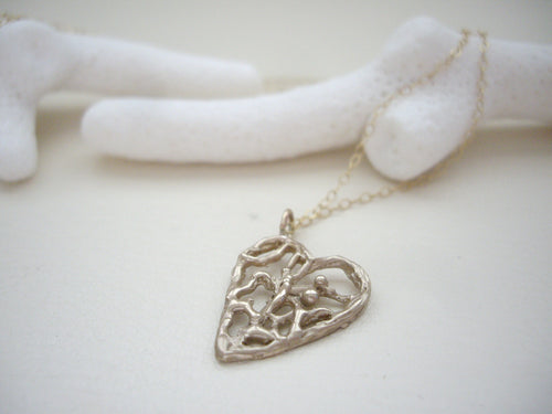 Lacy Heart Necklace, Filigree Heart Jewelry, Bronze Gold Pendant