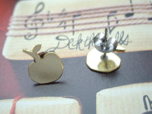Load image into Gallery viewer, Apple Studs Earrings, Minimalist Teacher's Gift, Gold or Silver.