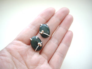 Bloodstone Cabochon Earrings, Artisan Jewelry Gift, Green Gemstone Jewelry