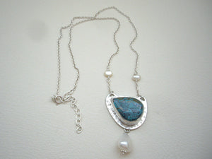 Chrysocolla and Pearl Statement Pendant, Bezel Setting Necklace