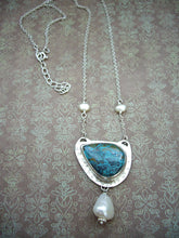 Load image into Gallery viewer, Chrysocolla and Pearl Statement Pendant, Bezel Setting Necklace