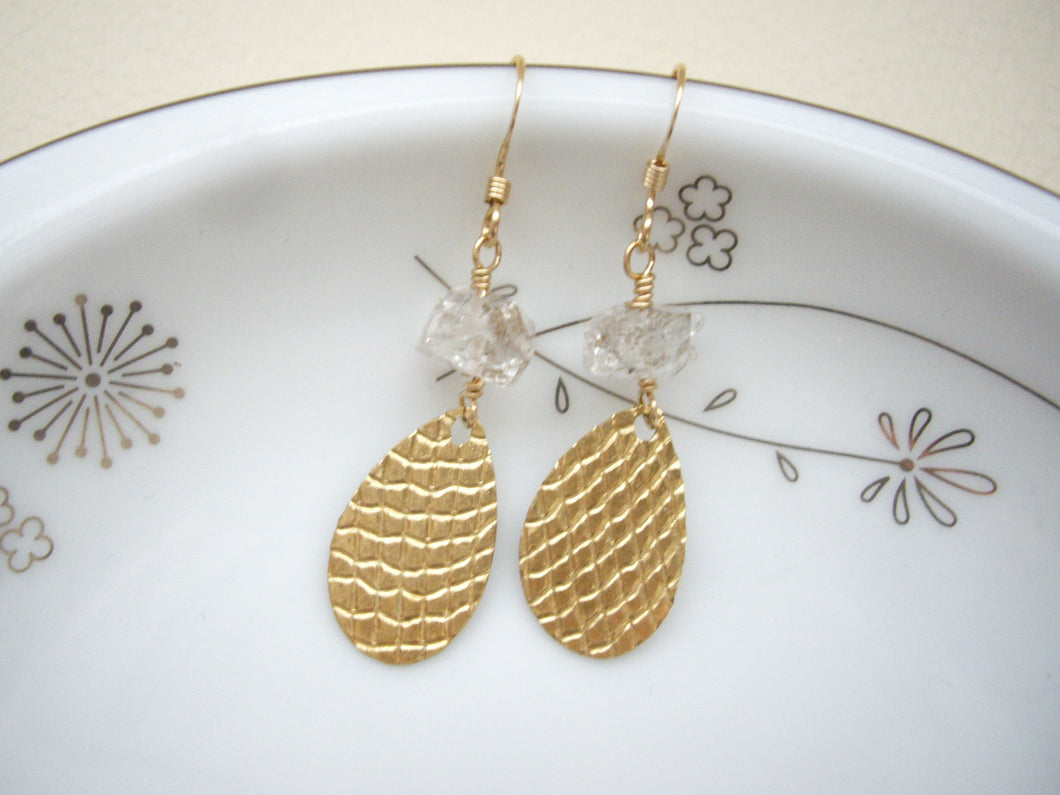 Textured Gold Teardrop Earrings with Herkimer Diamond
