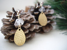 Load image into Gallery viewer, Textured Gold Teardrop Earrings with Herkimer Diamond, Yoko's Jewelry