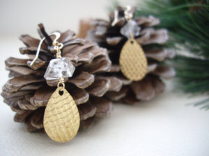 Textured Gold Teardrop Earrings with Herkimer Diamond, Yoko's Jewelry