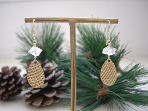 Textured Gold Teardrop Earrings with Herkimer Diamond on hanging