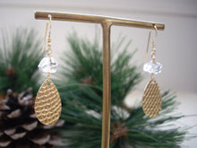 Load image into Gallery viewer, Textured Gold Teardrop Earrings with Herkimer Diamond  from angle