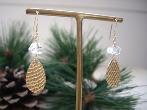 Textured Gold Teardrop Earrings with Herkimer Diamond  from angle