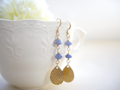 Gold Teardrop Dangle Earrings with Blue Stone