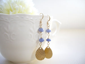 Gold Drop And Blue Gem Long Earrings, Sodalite Earrigns.