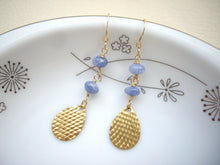 Load image into Gallery viewer, Gold Drop And Blue Gem Long Earrings, Sodalite Earrigns.