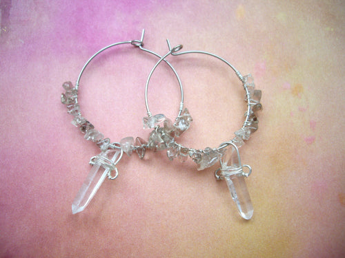 Crystal Point and Smoky Quartz Hoop Earrings