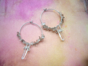 Crystal Point and Smoky Quartz Hoop Earrings.
