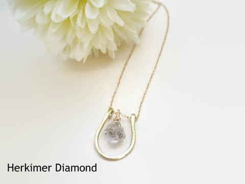 Herkimer diamond horseshoe necklace