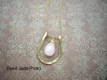 Load image into Gallery viewer, Horseshoe Necklace, Lucky Charm Pendant, Choose your Stone and Metal