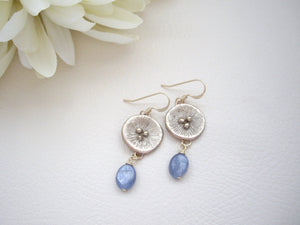 Bronze Gold Poppy Earrings, Blue Kyanite Dangle Earrings